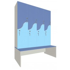 Шкаф для раздевалок. Модель 4k. Секции 4. Места 8.