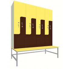 Шкаф для раздевалок. Модель 2p. Секции 4. Места 8.